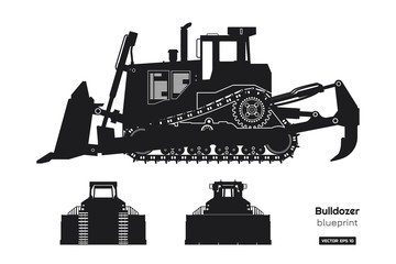 Black silhouette of bulldozer. Front, side and back view of digger. Building machinery image. Industrial isolated drawing of dozer. Diesel vehicle blueprint