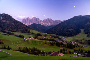 Wall Mural - Santa Maddalena village with magical Dolomites mountains in background, Val di Funes valley, Trentino Alto Adige region, Italy, Europe. Night view of dramatic Italian Dolomites landscape.