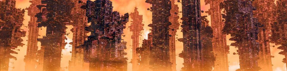 Mining colony city panorama / 3D illustration of dark futuristic science fiction city on hot desert planet