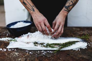 chef preparing fish