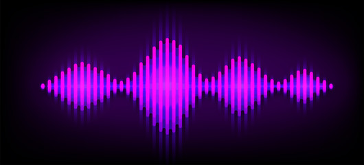 Neon wave sound vector background. Music soundwave design, purple light elements isolated on dark backdrop. Radio frequency beat lines