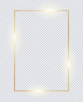 3D vertical golden frame. Gold transparent box on white background.  Golden borders, vector framework, banner, metal glowing thin lines.  Geometric shape forms.