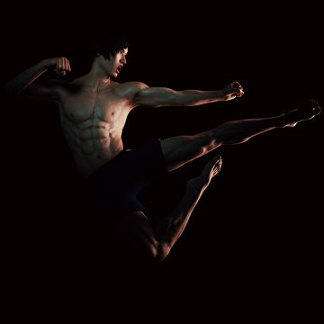Bruce Lee style jumpkick
