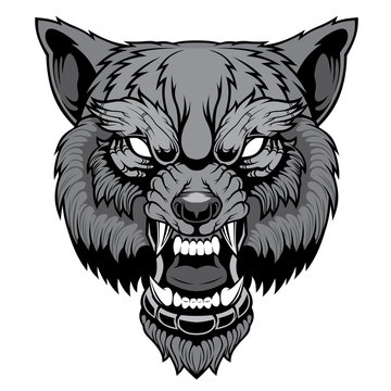 Head of a growling wolf.