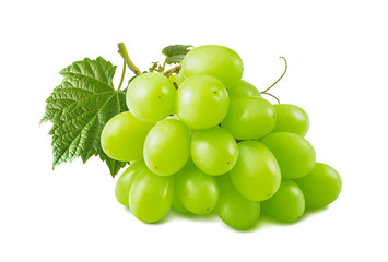 Single green grapes bunch isolated on white background Fototapete