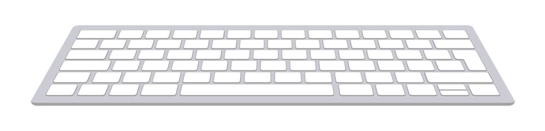 Modern aluminum computer keyboard isolated on white background. Vector illustration.