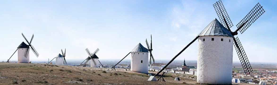 Traditional windmills in La Mancha, Spain