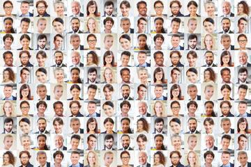 Viele Geschäftsleute Porträts zusammen als Teamwork