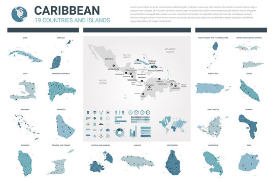 Vector maps set.  High detailed 19 maps of Caribbean countries with administrative division and cities. Political map, map of Caribbean region, world map, globe, infographic elements.