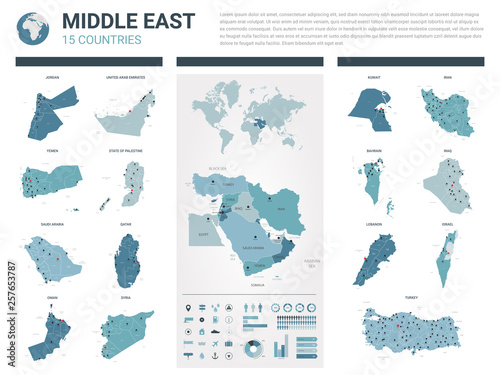 Vector maps set  High detailed 15 maps of Middle East