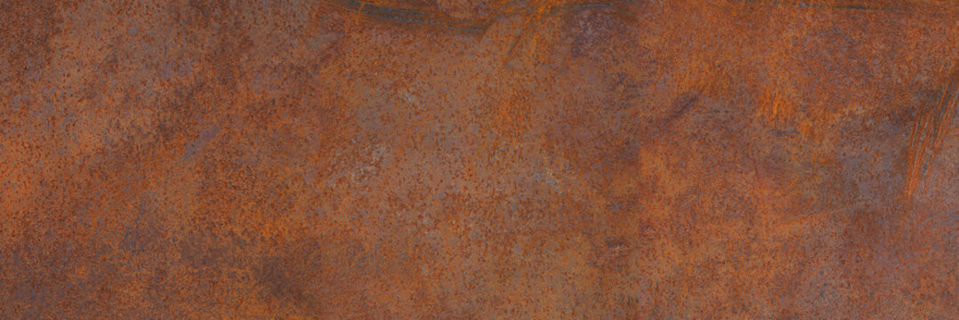 Panoramic grunge rusted metal texture, rust and oxidized metal background. Old metal iron panel.
