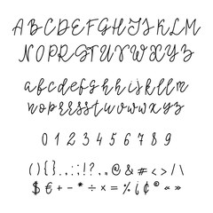 Handwritten calligraphy font.
