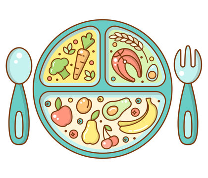 Baby food plate in bright cartoon style. Suitable for advertising or info poster design