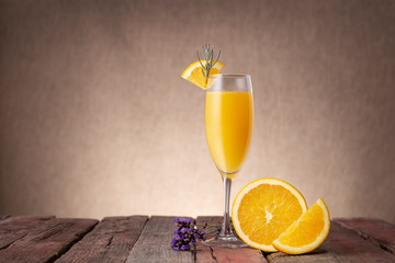 Printed kitchen splashbacks Cocktail Mimosa Cocktail in a champagne glass