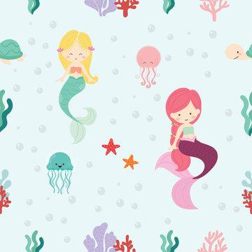 Cute mermaid seamless pattern background vector.