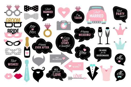 Photo booth props for wedding party bride