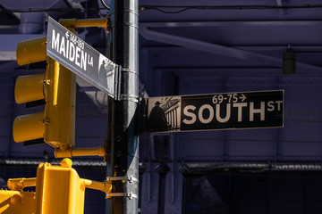 Close-up view of Signs of South Street and Maiden Lane in Financial District Lower Manhattan New York City