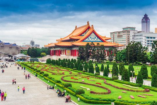 Tourists walking travel at the Chiang Kai-Shek Memorial Hall in Taipei