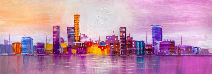 Panorama city during sunset in the summer season. Abstract Painting .