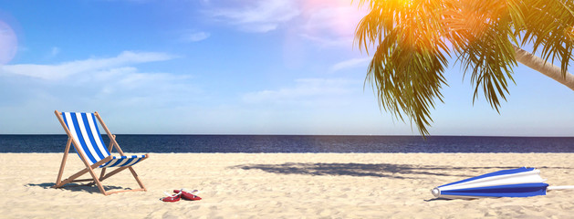Beach on the sea with palm tree in summer vacation