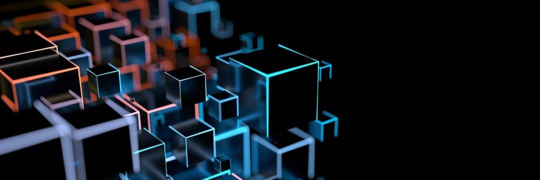 Luminous cuboid as a digital background