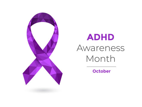 ADHD awareness month, October, purple ribbon web