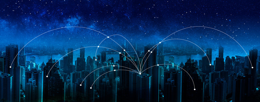 Future communication network connection solutions technology, wireless, Global internet and satellite connection concept.
