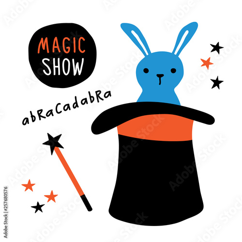 Magic show banner  Rabbit, magician equipment, top hat, magic wand