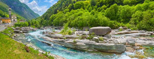 Famous verzasca river near Lavertezzo in Switzerland.
