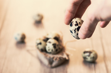 Woman holding a quail egg between her fingers.
