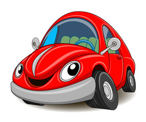 Poster Cartoon cars Funny red car. Vector illustration