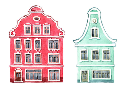 Cute set of watercolor illustrations, yellow house with windows and shutters. Houses from the Dutch village.