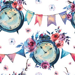 Watercolor Vintage Seamless Pattern with Alarm Clock, Flowers in Bohemian Style