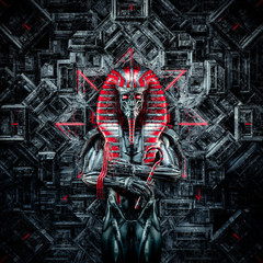 The future king / 3D illustration of metallic futuristic male Egyptian pharaoh robot inside hitech temple