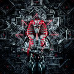 The future king / 3D illustration of metallic futuristic male Egyptian pharaoh robot inside hitech temple