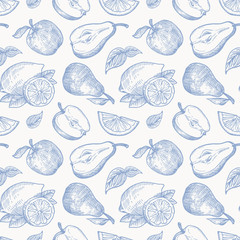 Hand Drawn Apples Pears and Lemons Harvest Vector Seamless Background Pattern. Fruits and Leaves Sketches Card or Cover Template