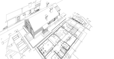 house, architectural project, sketch Wall mural