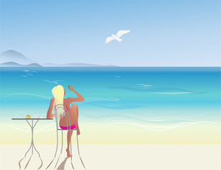 A girl in a beach cafe on the sea looks at a seagull flying in the blue sky through a hole in a sea pebble. Vector illustration