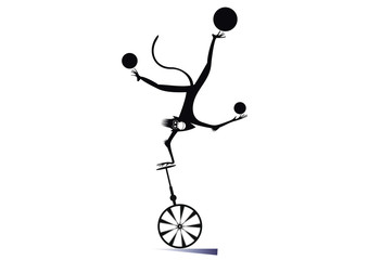 Cartoon monkey on the unicycle juggles the balls illustration. Funny monkey balances on the unicycle one hand head over heels and juggles the balls black on white illustration