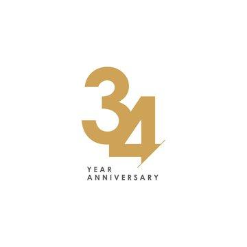 34 Year Anniversary Vector Template Design Illustration