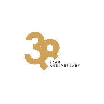 38 Year Anniversary Vector Template Design Illustration