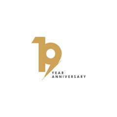 19 Year Anniversary Vector Template Design Illustration
