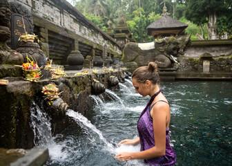 girl on holy springs bali
