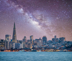 San Francisco, California. Panoramic view of Downtown skyline on a starry night