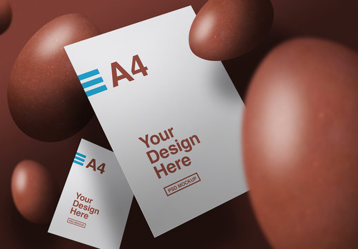 Floating Papers and Eggs Mockup