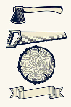 Saw, axe and stump - design elements