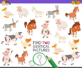 find two identical farm animals task for children