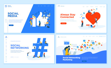 Wall Mural - Web page design templates collection of social media, online communication, networking, digital marketing. Flat design vector illustration concepts for website and mobile website development.