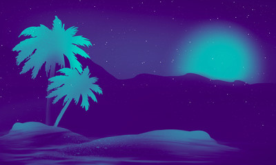 Fotomurales - Space futuristic landscape. Neon palm tree, tropical leaves.