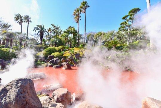 Red Clay Pond of Umi Jigoku in Beppu